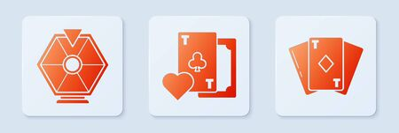 Set Playing card with clubs symbol, Lucky wheel and Playing card with diamonds. White square button. Vector