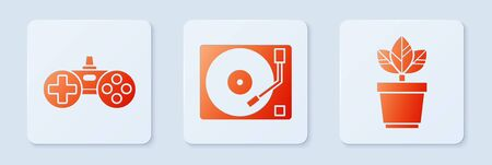Set Vinyl player with a vinyl disk, Gamepad and Flowers in pot. White square button. Vector