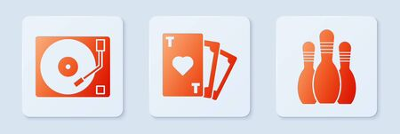 Set Playing card with heart symbol, Vinyl player with a vinyl disk and Bowling pin. White square button. Vector