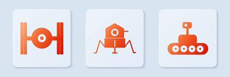 Set Mars vehicle, Cosmic ship. White square button. Vector