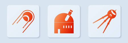 Set Astronomical observatory, Satellite and Satellite. White square button. Vector