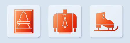 Set Christmas sweater, Christmas postcard and Figure skates. White square button. Vector 일러스트