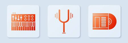 Set Musical tuning fork, Music synthesizer and Vinyl disk. White square button. Vector 向量圖像