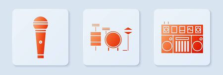 Set Drums, Microphone and DJ remote for playing and mixing music. White square button. Vector 向量圖像