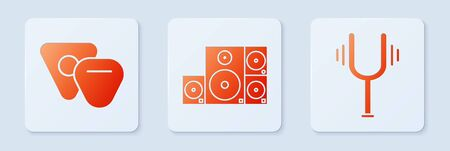 Set Stereo speaker, Guitar pick and Musical tuning fork. White square button. Vector Ilustracja