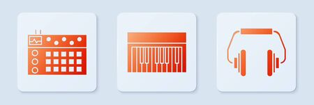 Set Music synthesizer, Drum machine and Headphones. White square button. Vector