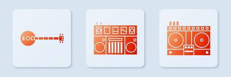 Set DJ remote for playing and mixing music, Banjo and DJ remote for playing and mixing music. White square button. Vector