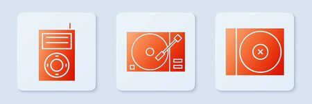 Set Vinyl player with a vinyl disk, Music MP3 player and CD or DVD disk. White square button. Vector