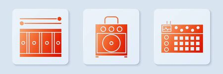 Set Guitar amplifier, Drum with drum sticks and Drum machine. White square button. Vector