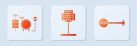 Set Music stand, Drums and Banjo. White square button. Vector