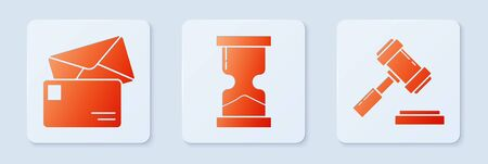 Set Old hourglass, Envelope and Judge gavel. White square button. Vector
