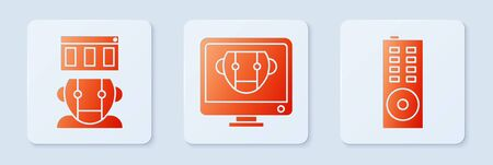 Set Bot, Robot and Remote control. White square button. Vector Illustration
