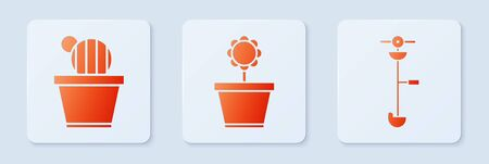 Set Flower in pot, Cactus and succulent in pot and Grass and weed electric string trimmer. White square button. Vector