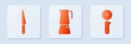 Set Moka pot, Knife and Pizza knife. White square button. Vector Vectores