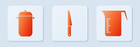 Set Knife, Cooking pot and Measuring cup. White square button. Vector