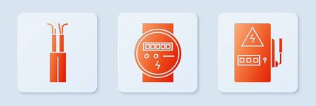 Set Electric meter, Electric cable and Electrical panel. White square button. Vector