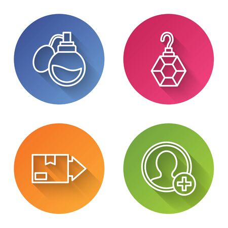 Set line Perfume, Earring, Carton cardboard box and Create account screen. Color circle button. Vector