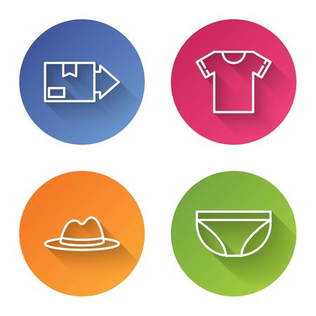 Set line Carton cardboard box, T-shirt, Man hat with ribbon and Underwear. Color circle button. Vector