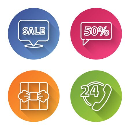 Set line Hanging sign with Sale, Fifty discount percent tag, Gift box and Telephone 24 hours support. Color circle button. Vector Vetores
