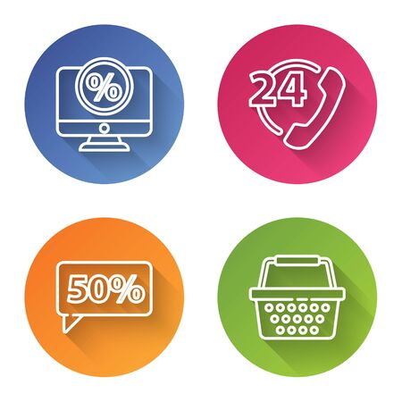 Set line Percent discount and monitor, Telephone 24 hours support, Fifty discount percent tag and Shopping basket. Color circle button. Vector