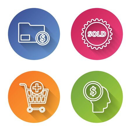 Set line Envelope with coin dollar, Sold label, Add to Shopping cart and Business man planning mind. Color circle button. Vector