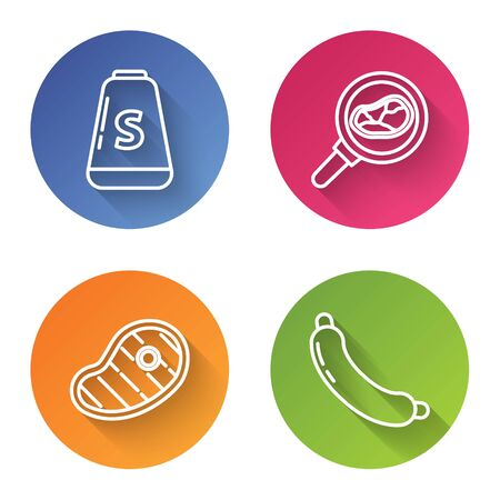 Set line Salt, Steak meat in frying pan, Steak meat and Sausage. Color circle button. Vector