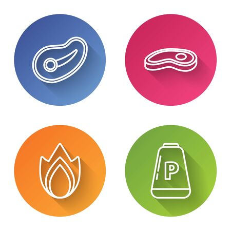 Set line Steak meat, Steak meat, Fire flame and Pepper. Color circle button. Vector