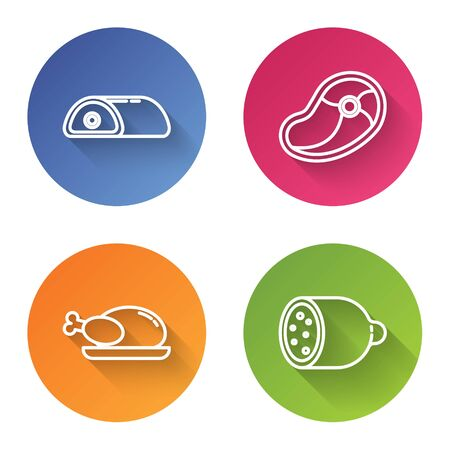 Set line Meat, Steak meat, Roasted turkey or chicken and Salami sausage. Color circle button. Vector Illusztráció