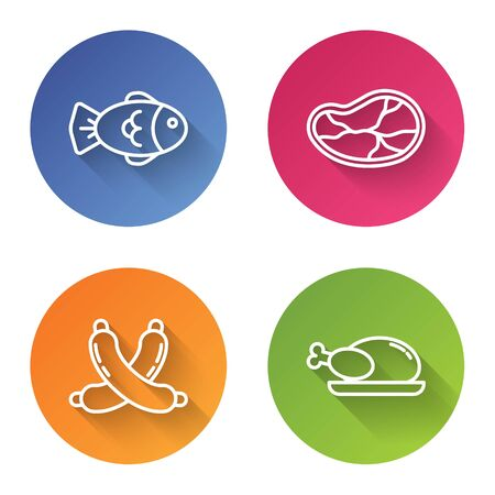 Set line Fish, Steak meat, Crossed sausage and Roasted turkey or chicken. Color circle button. Vector Illusztráció