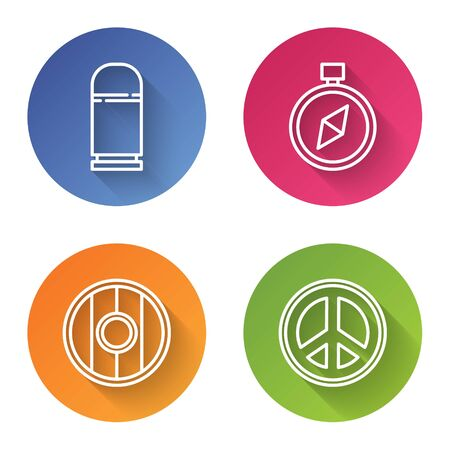 Set line Cartridges, Compass, Round wooden shield and Peace. Color circle button. Vector 向量圖像