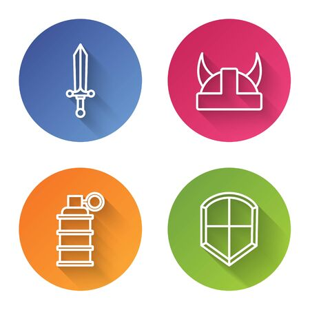 Set line Medieval sword, Viking in horned helmet, Hand grenade and Shield. Color circle button. Vector