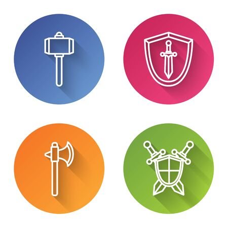 Set line Battle hammer, Medieval shield with sword, Medieval axe and Medieval shield with crossed swords. Color circle button. Vector