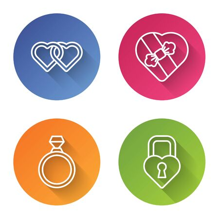 Set line Two Linked Hearts, Candy in heart shaped box, Diamond engagement ring and Castle in the shape of a heart. Color circle button. Vector