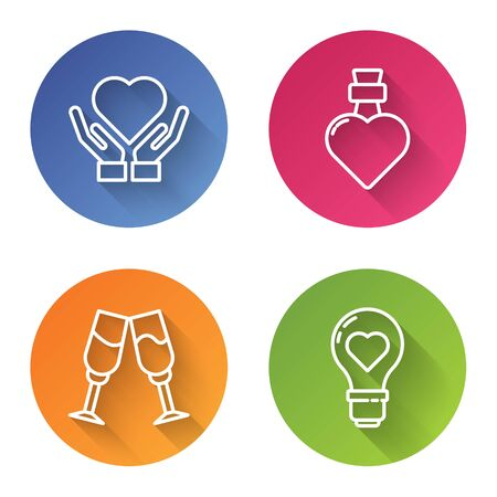 Set line Heart on hand, Bottle with love potion, Glass of champagne and Heart shape in a light bulb. Color circle button. Vector Stock Illustratie