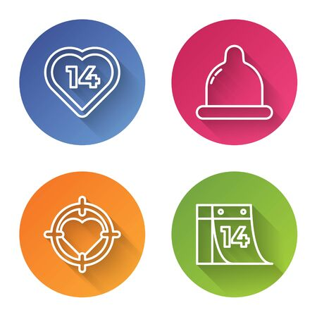Set line Heart, Condom, Heart in the center of darts target aim and Calendar with February 14. Color circle button. Vector Vectores