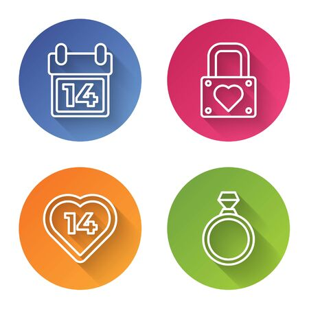 Set line Calendar with February 14, Lock and heart, Heart and Diamond engagement ring. Color circle button. Vector