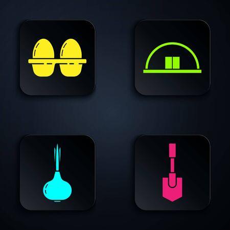 Set Shovel, Chicken egg in box, Onion and Hangar. Black square button. Vector Ilustracja