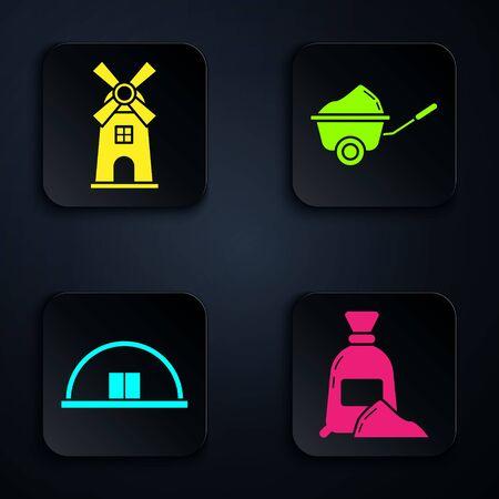 Set Bag of flour, Windmill, Hangar and Wheelbarrow with dirt. Black square button. Vector Ilustracja