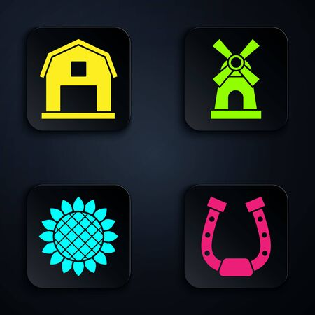Set Horseshoe, Farm House concept, Sunflower and Windmill. Black square button. Vector Ilustrace