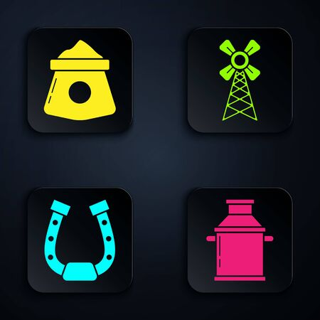 Set Can container for milk, Bag of flour, Horseshoe and Windmill. Black square button. Vector