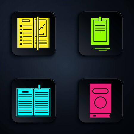 Set Book, Notebook, Open science book and Clipboard with document. Black square button. Vector