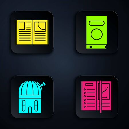 Set Notebook, Open book, Astronomical observatory and Book. Black square button. Vector