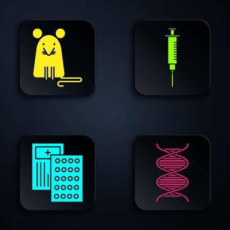 Set DNA symbol, Rat, Pills in blister pack and Syringe. Black square button. Vector