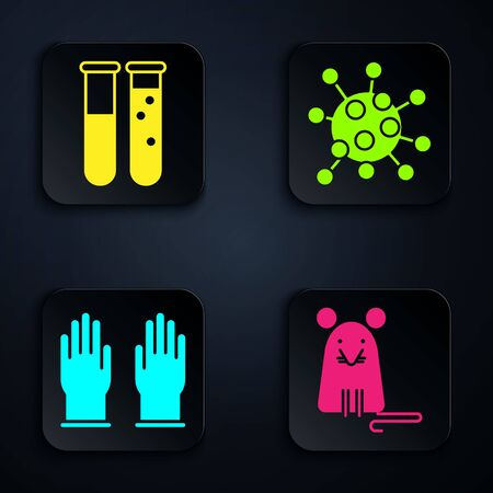 Set Rat, Test tube and flask chemical laboratory, Rubber gloves and Bacteria. Black square button. Vector