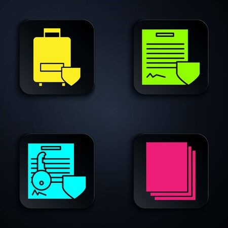 Set Clean paper, Traveling baggage insurance, Document with key with shield and Contract with shield. Black square button. Vector