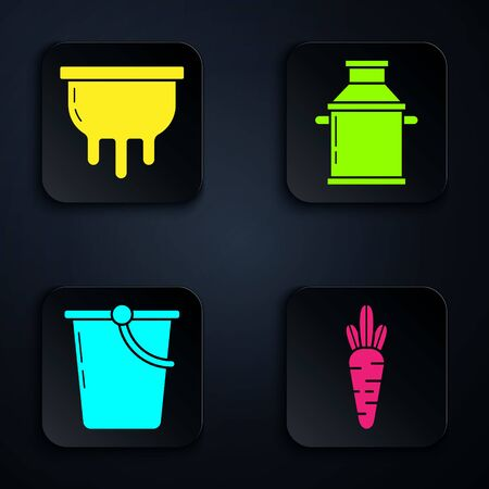 Set Carrot, Udder, Bucket and Can container for milk. Black square button. Vector