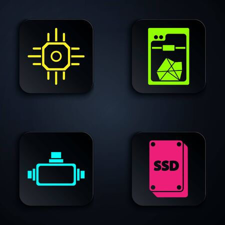 Set SSD card, Processor, Virtual reality glasses and 3D printer. Black square button. Vector Иллюстрация