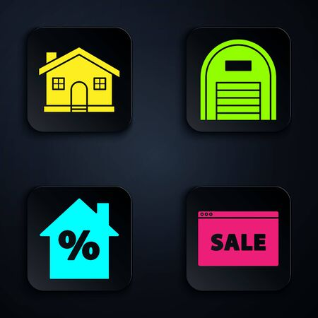 Set Hanging sign with text Online Sale, House, House with percant discount tag and Warehouse. Black square button. Vector Ilustracja