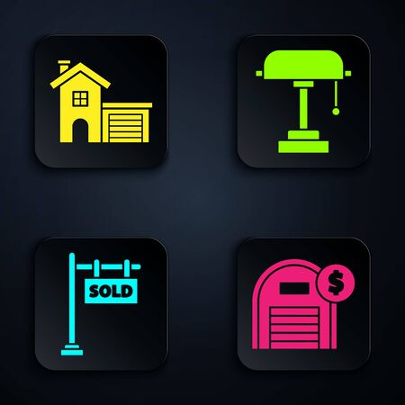 Set Warehouse with dollar symbol, House, Hanging sign with text Sold and Table lamp. Black square button. Vector
