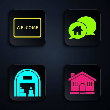 Set House, Doormat with the text Welcome, Warehouse and House building in speech bubble. Black square button. Vector